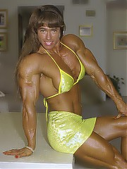 Denise Hoshor all-American girlish good looks, huge muscles and incredible strength. Denise has a fabulous combination of great looks, physical strength and national-class physique.