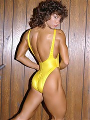 Deborah Diana poses in many different swimsuits and dress outfits